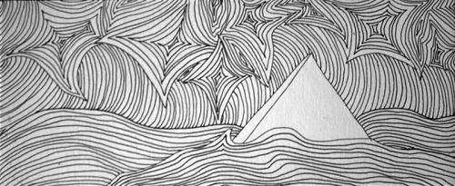 Deserts like oceans.Op art illustrations drawn with ink on mix media paper.