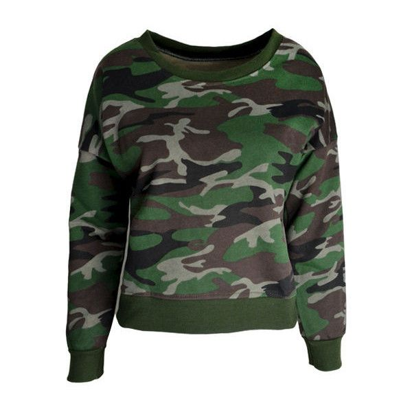 CAMOUFLAGE JUMPER ($29) ❤ liked on Polyvore featuring tops, sweaters, camo sweater, camo tops, jumpers sweaters, jumper top and camouflage sweater