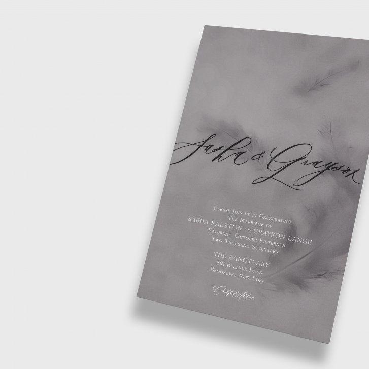 Feather Calligraphy Wedding Invitation Written