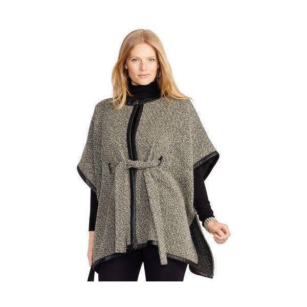 Ralph Lauren Lauren Woman Leather-Trim Wool-Blend Poncho ($415) ❤ liked on Polyvore featuring plus size fashion, plus size clothing, plus size outerwear, tie belt, ralph lauren poncho, brown poncho and ralph lauren