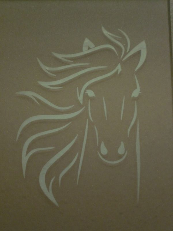 Framed glass-etched horse head from whatchaworkinon.com Free Silhouette cut file & instructions.