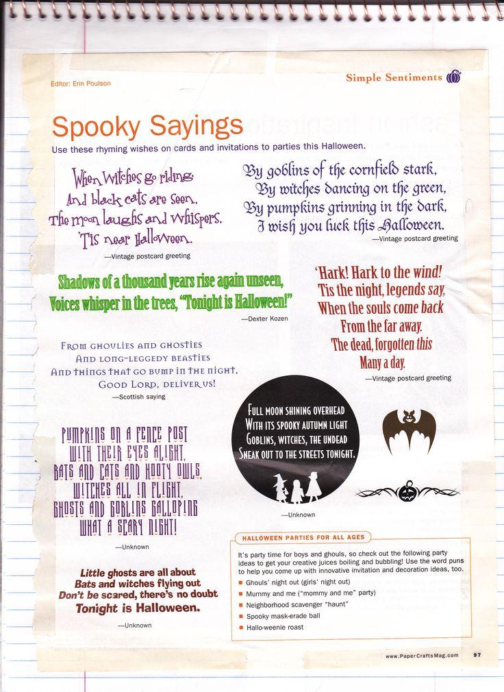Spooky Halloween Sayings.