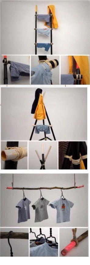 Des morceaux de bambous, des cintres, de la corde, un peu de peinture en bombe et du fil de fer : c'est tout ce qu'il vous faut pour réaliser ces portants !