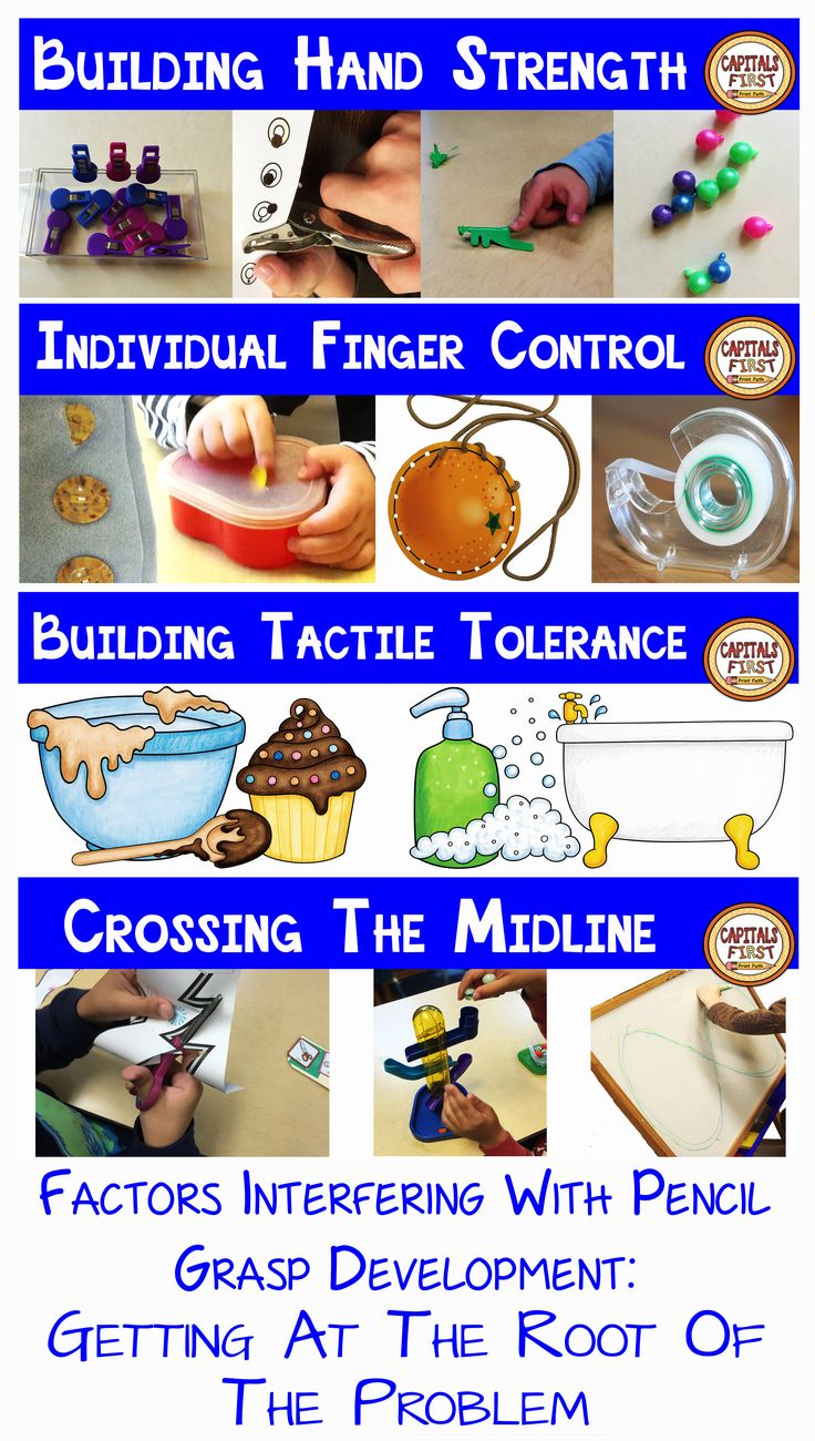 PART 2. FACTORS INTERFERING WITH PENCIL GRASP DEVELOPMENT The four main factors that interfere with pencil grasp development and what parents and teachers can do to address those factors.