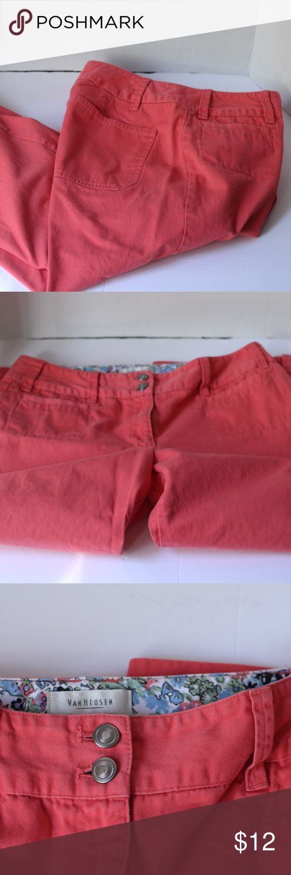 "Van Heusen Coral Capris Size 4 Pre-Loved but in Good Used Condition. Coral Capris, Size 4. Features silver buttons on the side of the bottom of legs.   Approx 31"" from waist to hem Inseam is Approx 21"" Waist is approx. 15"" when laying flat Boot is approx. 8"" wide. Van Heusen Pants Capris"