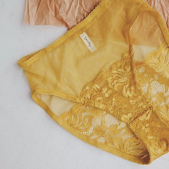 LENA lace lingerie brief in marigold. Comfy stretch mesh and lace ✨
