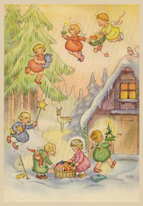 Charlotte Baron RAA - Vintage German Christmas Postcard