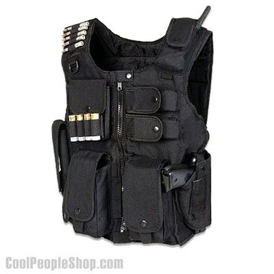 $38.69 SWAT Vest | Cool People Shop  This durable SWAT vest is designed for law enforcement and firearm enthusiasts who seek practical gear-carrying solution in the field. It offers quilted comfort on the inside, and heavy-duty nylon on the exterior. Numerous front pockets and an oversized back pocket help keep your magazines and other accessories in order, and the vest is fully adjustable through the shoulder and waist for a custom fit.
