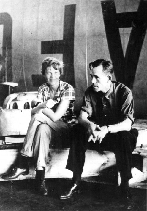 Amelia Earhart and navigator Fred Noonan (Batavia, Java. 1937)
