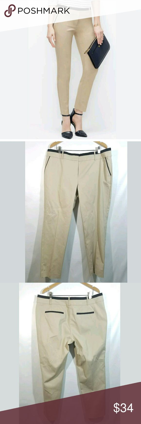 Ann Taylor Pants SZ 16 Classic Ankle Stretch Ann Taylor Pants Women's SZ 16 Classic Ankle Stretch Cotton Piping Khaki Tan  Excellent used condition.   39 inch waist.  11 inch rise.  47 inch hips.  28 inch inseam.   Pre-owned item condition. Item has little to no signs of wear unless specifically stated. Please carefully review item details and uploaded pictures for details of this item before bidding or buying. Item is functional and ready for your closet!    LB Ann Taylor Pants Ankle…