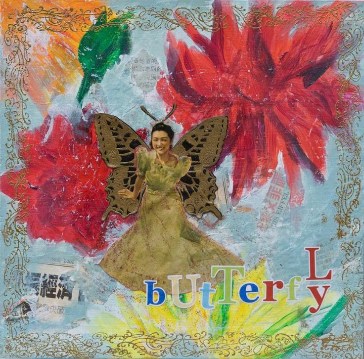 "Madame Butterfly, 30 x 30 cm, acrylics & collage on canvas, from the book ""Collagen. Techniken, Materialien, Bilder"", Christophorus Verlag, 2010"