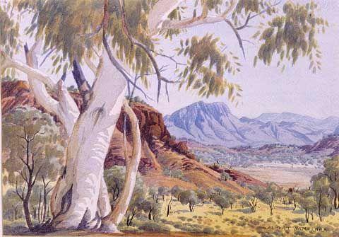 Ghost Gum in West Macdonnell Ranges, Central Australia, Northern Territory - Albert Namatjira 1902 - 1959