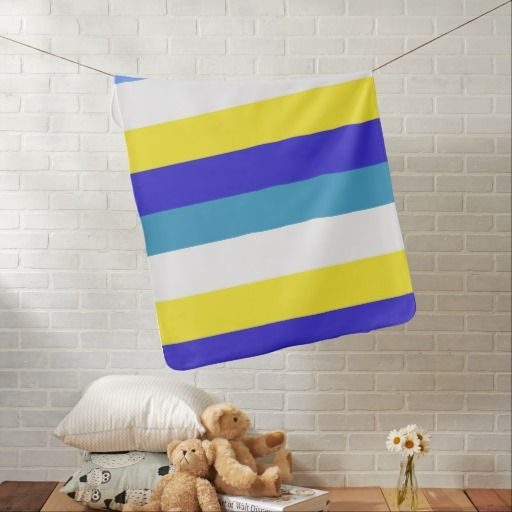 Blue, yellow and whited striped baby blanket