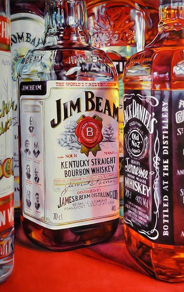 KATE BRINKWORTH http://www.widewalls.ch/artist/kate-brinkworth/ #contemporary art #design #photorealism (Jack Daniels Bottle Painting)