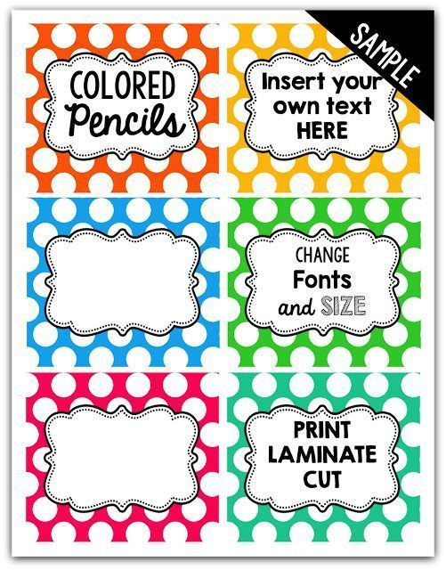 Editable Polka Dot Labels! Create labels for storage bins, word walls and more!