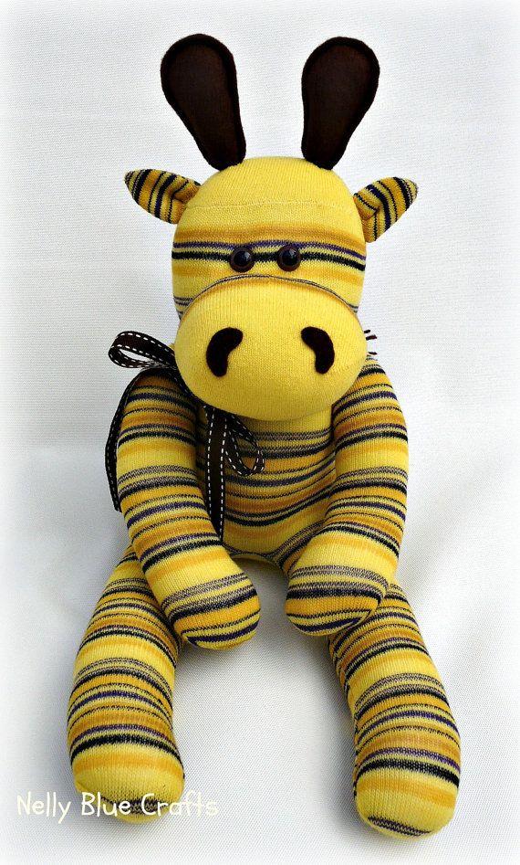 Yellow stripe Sock Giraffe Handmade from nelly blue crafts                                                                                                                                                     More