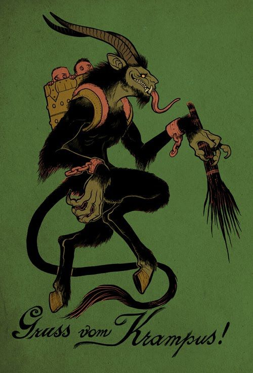 Krampus is a beast-like creature from the folklore of Alpine countries thought to punish children during the Yule season who had misbehaved, in contrast with Saint Nicholas, who rewards well-behaved ones with gifts. Krampus is said to capture particularly naughty children in his sack and carry them away to his lair.