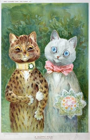 """a happy pair - looks like Victoria (from """"Cats"""") and one of her many lovers, by Louis Wain"""