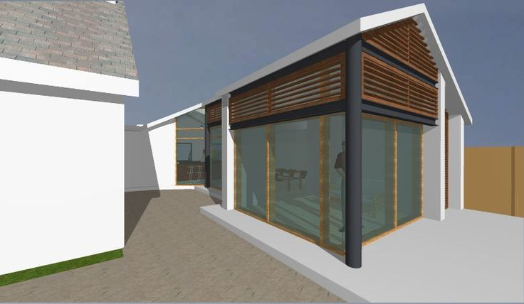3D image of modern extension to existing cottage in Kilcoole, Co. Wicklow. This extension has an external steel frame and glazed panels between as well as a timber frame and roof. The existing cottage was also totally refurbished.