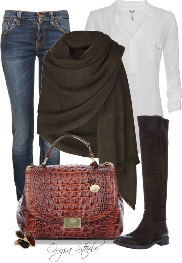 """""""Dressy Casual"""" by orysa on Polyvore - I just ordered a brown shawl like this one. I can SO MAKE THIS OUTFIT from my closet!! ;-)"""