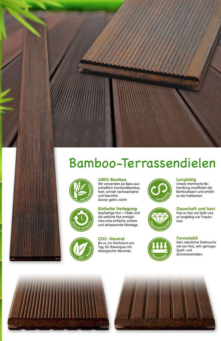 Musterstück Bambusdielen Terassendielen Bretter Balkon Dielen in Bangkirai Optik