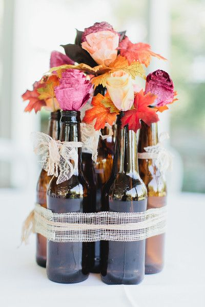 Such a great idea. DIY beer bottle centerpiece. From event designer @popevents