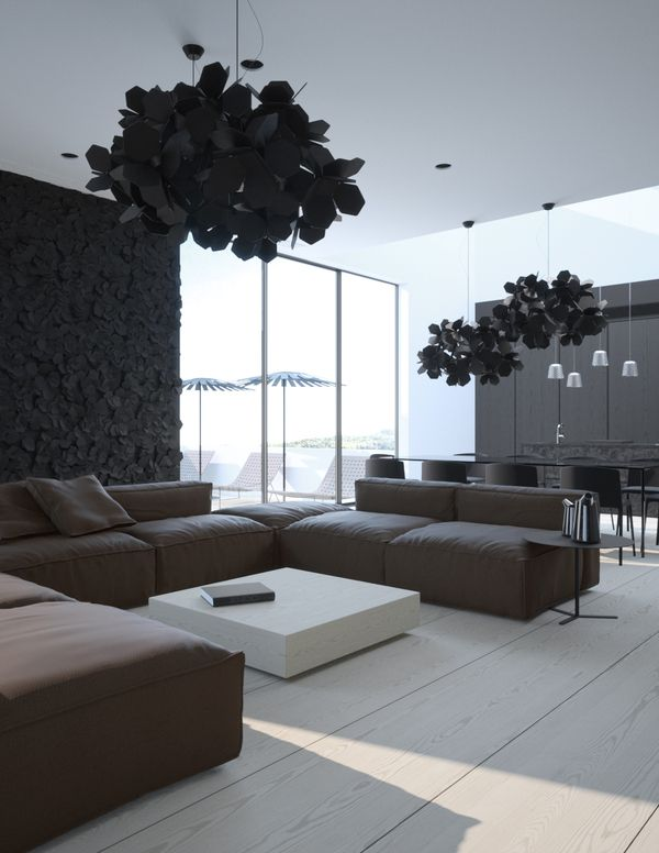 Contemporary apartment in Crimea with stylish gothic influences this is neat, it's me but I'd add a lil color