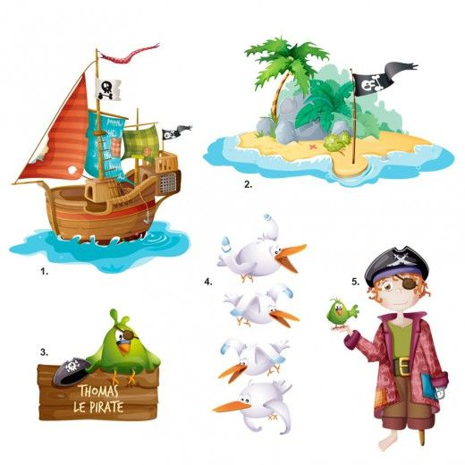 Kit Stickers pirate : Barbe Rousse