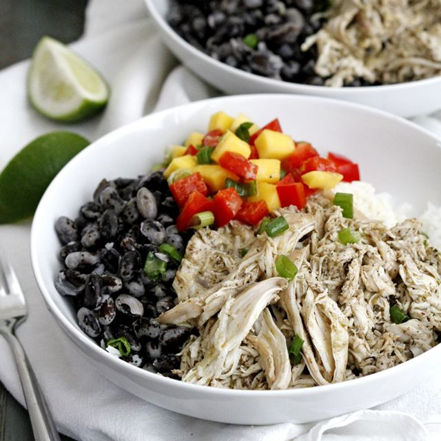 Healthy and delicious dinner bowls with Orca beans, rice and Caribbean jerk-style chicken topped with a lime vinaigrette.
