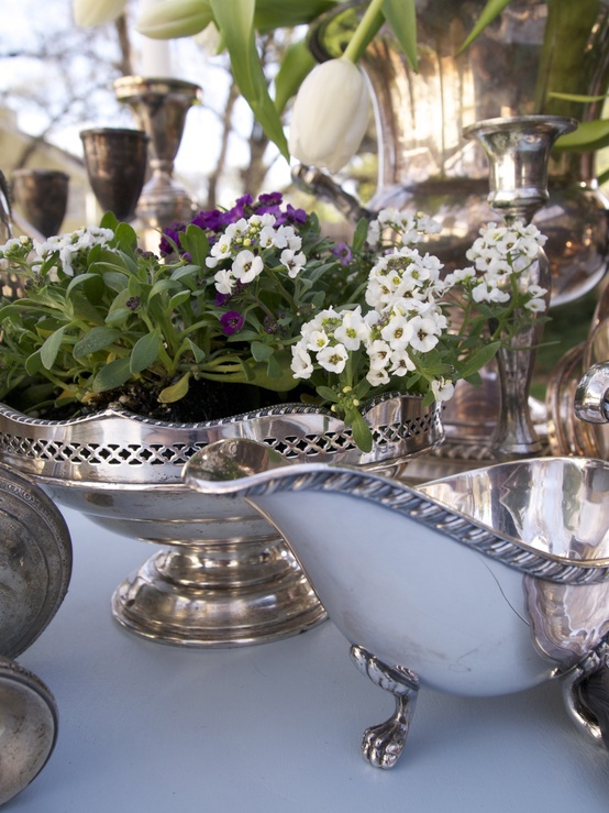 Use vintage silver plated fruit dishes bon bon dishes gravy bowls sugar bowls as table planters - great for special occasions or to bring a bit of bling to the everyday Repinned by www.silver-and-grey.com