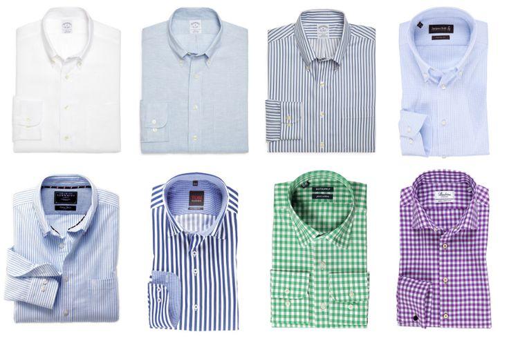 Koszule u góry: 3 x BrooksBrothers, Jacques Britt, na dole: Charles Tyrwhitt, Tom Rusborg, Suit Supply, Strenstroems