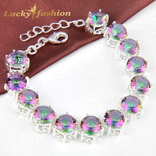 new fashion  mystic rainbow Created topaz bracelet high quality shiny crystal bracelets for women bijoux