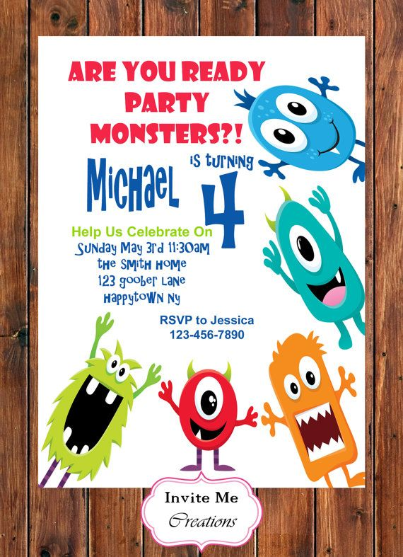 Monster Birthday, Monster Invitation, Birthday Party Monsters, Adorable invite…