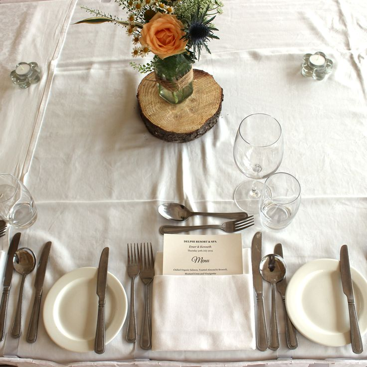 From Connemara with love... Delphi Adventure Resort & Spa is where your love story starts! #Wedding #TableSetting #WeddingIdeas #Flowers #Pretty #CountryWedding #NaturalWedding #cutlery #food #menu