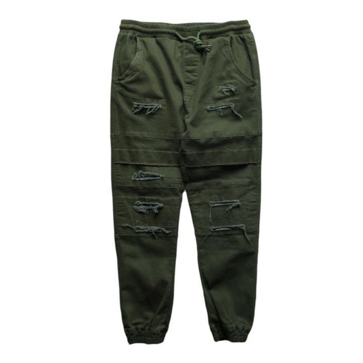 Olive Double Layered Ripped Joggers (Unisex) // zargara