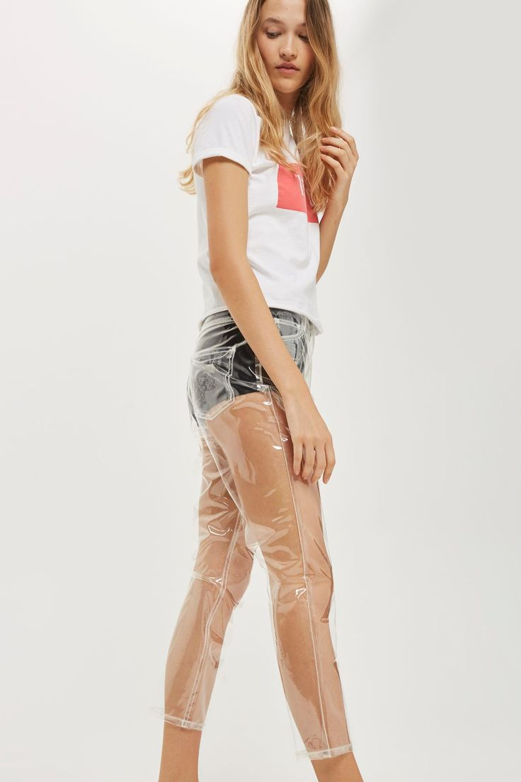 MOTO Clear Plastic Straight Leg Jeans