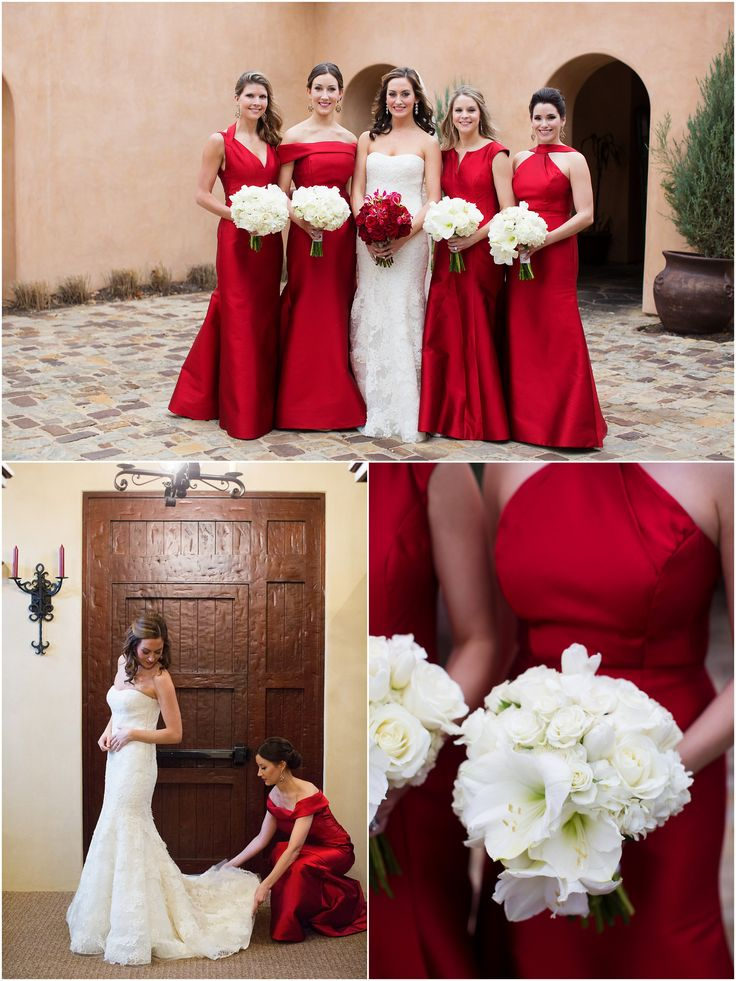 Red, floor-length gowns for the bridesmaids paired with cream blooms. Perfect for a Christmas wedding! | Megan + Keith's Winter Wedding in Horseshoe Bay | Wedding Planner: DFW Events | Photos: Sarah Kate, Photographer