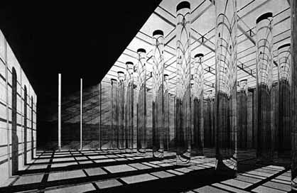 """A computer-generated visualisation of the """"Paradiso"""" room of Terragni's 'Danteum' - a building he co-designed with Pietro Lingeri, but that was never built."""