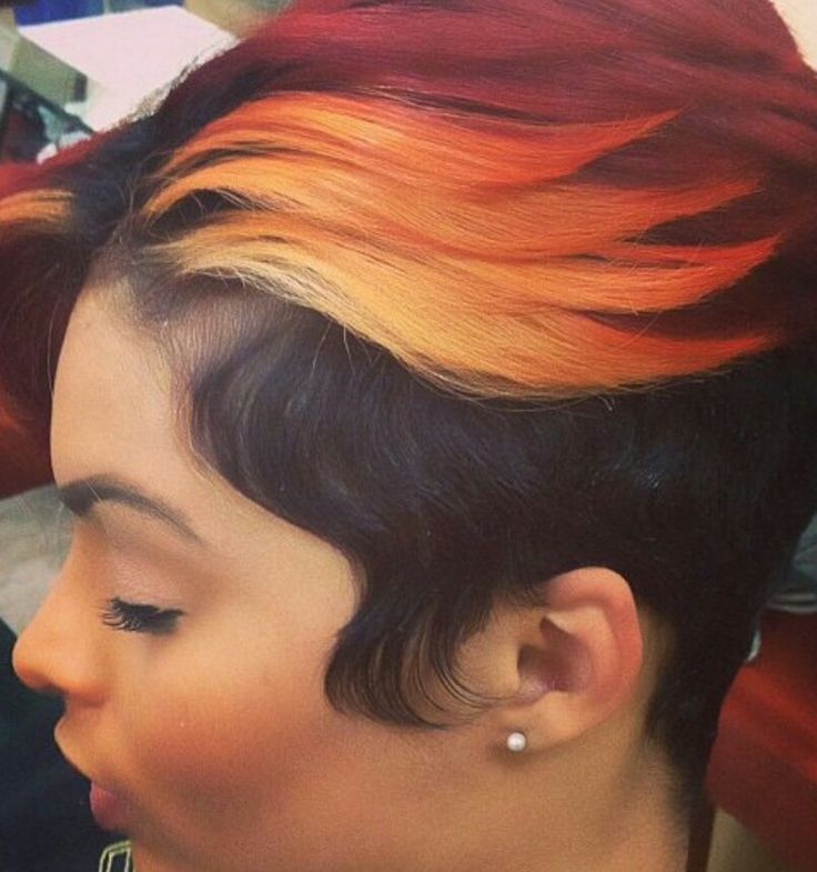 Short Haircut Style Ideas Ombre Orange And Burgundy Dyed Sassy Short Haircut