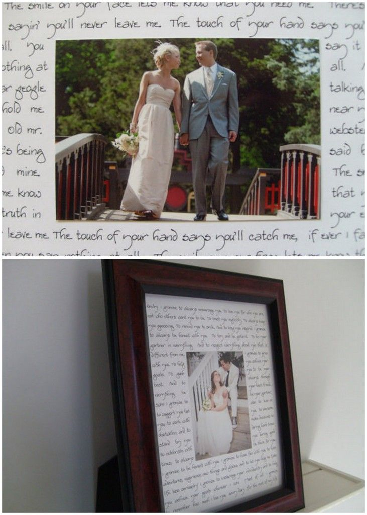 Photo with first dance lyrics...such a great idea!