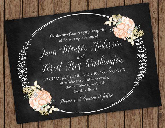 My Wedding Invite Vintage Chalkboard Invitation By Olivejuicestationery