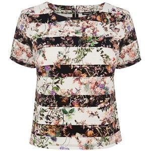 Warehouse stripe floral co-ord top