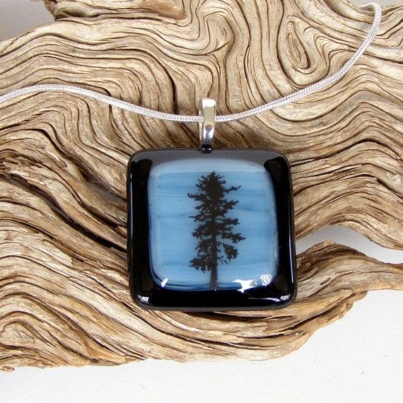 Black Tree Fused Glass Pendant  Necklace by GreenhouseGlassworks #fused #glass #pendant #tree #nature #gift