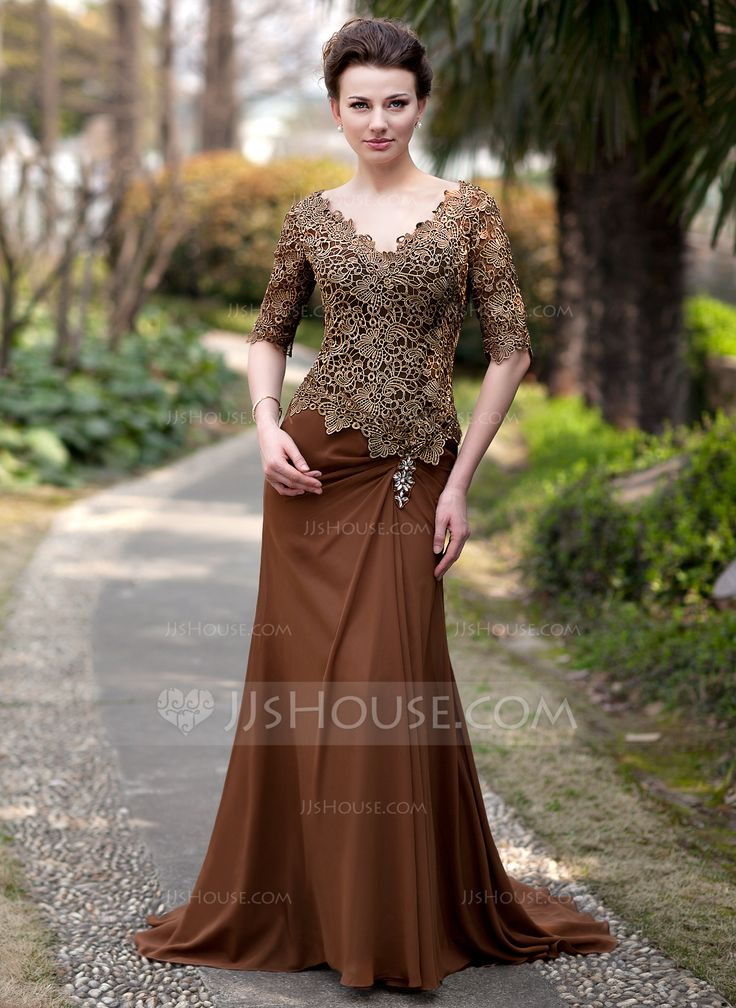 Trumpet/Mermaid V-neck Sweep Train Ruffle Beading Zipper Up Sleeves 1/2 Sleeves No 2014 Brown General Plus Chiffon Lace Mother of the Bride Dress
