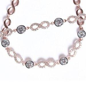 Sonsuzluk modelli, roz renkli, 925 ayar gümüş bayan bileklik