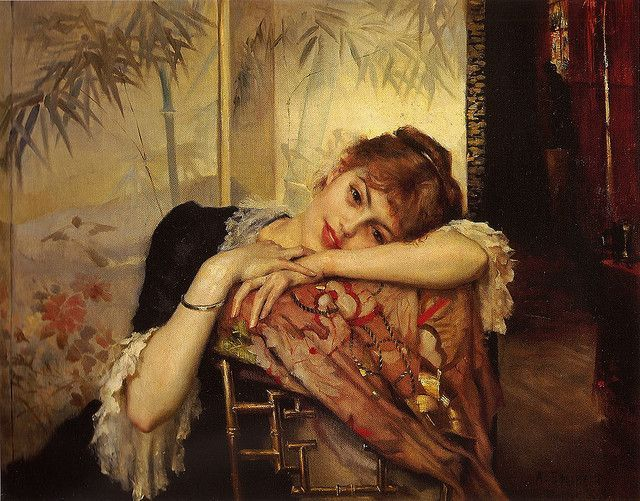 """Albert Edelfetl: """"Portrait of Virginie"""", 1883 - Nuori ja ja kaunis Virginie oli Edelfeltin mallina vuosina 1880-1883. Taidehistorioitsija ja kirjailija Anna Kortelainen kiinnostui Albert Edelfeltin Virginieksi nimeämästä säkenöivästä nuoresta mallista,joka aistikkaasti poseeraa useissa Edelfeltin teoksissa.Virginien henkilöllisyyden peittelemiseen osallistuivat Edelfelt itse,hänen pikkusiskonsa Berta ja hänen ystävänsä. Suuri rakkaus ei kuitenkaan katoa jälkiä jättämättä."""