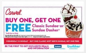 Carvel Buy 1 Ge 1 FREE Ice Cream coupon image