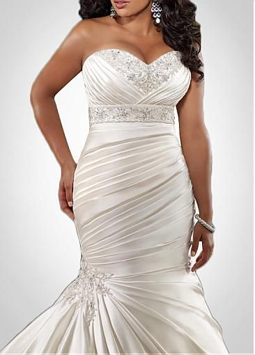 Glamorous Satin Mermaid Sweetheart Neckline Plus Size Wedding Dress With Beads & Lace Appliques STYLE NO.WWD00CAF #Dressilyme