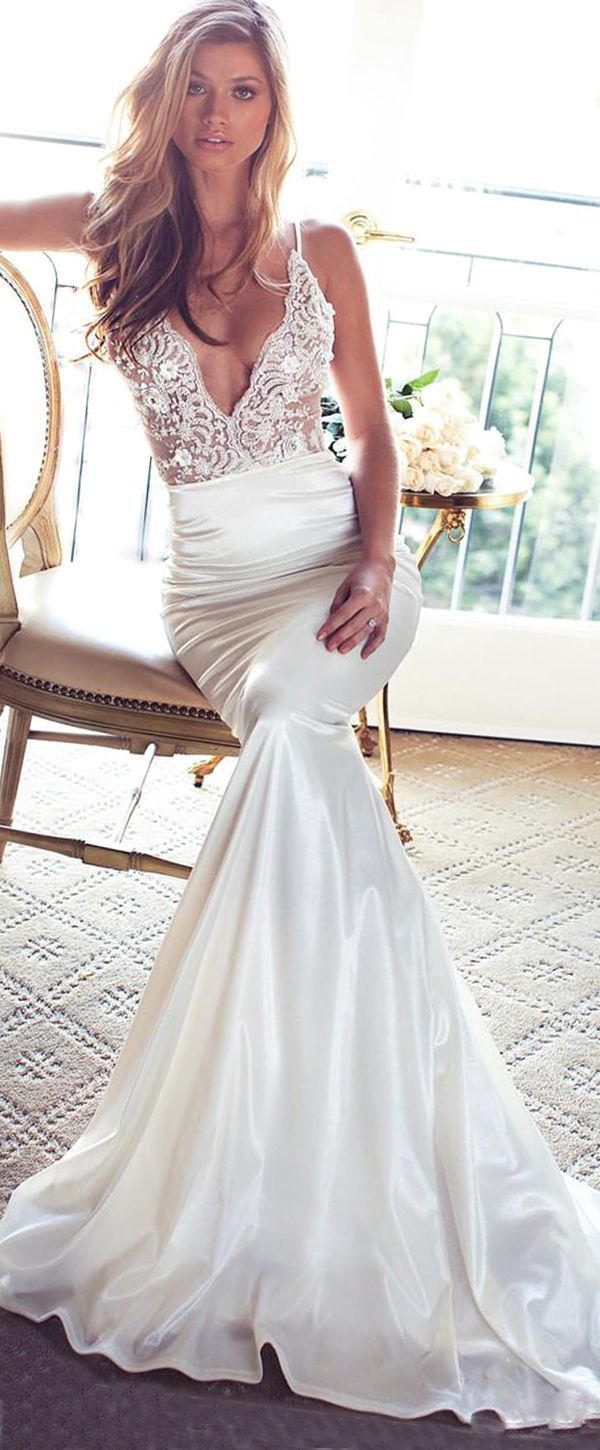 Graceful Stretch Satin Spaghetti Straps Neckline Mermaid Wedding Dresses With Beaded Lace Appliques