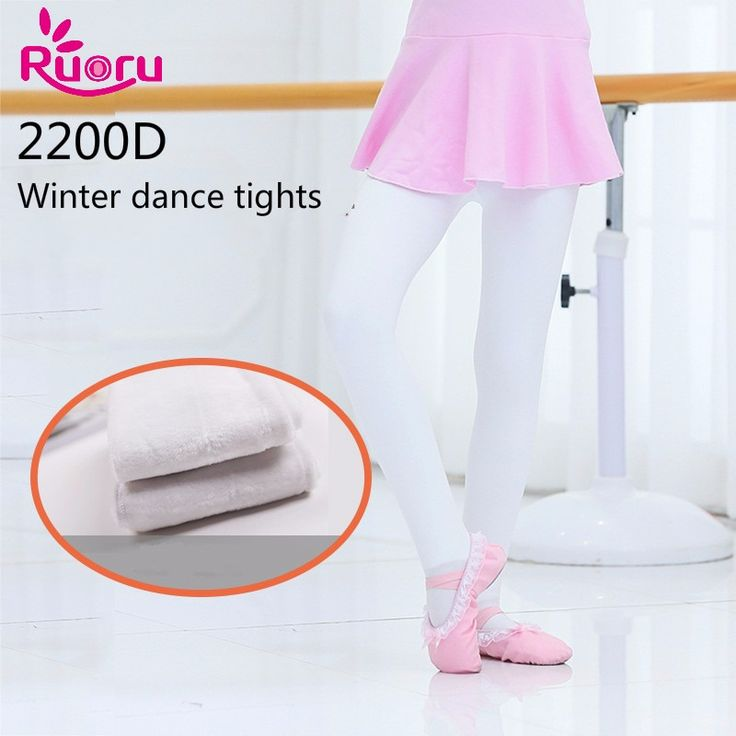 Ruoru 2200D Cotton Modal Anti-pilling Girls Ballet Tights Children Kids Ballet Dance Foot Tights White Black Dance Pantyose